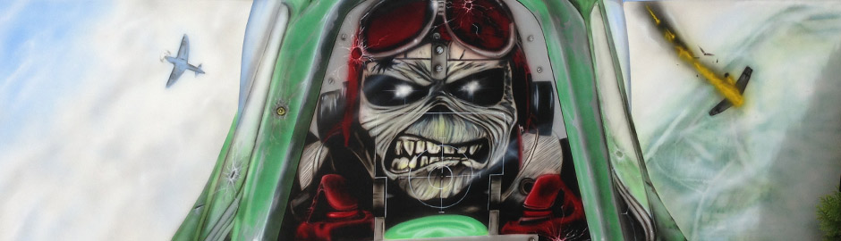 Jet bomber airbrush artwork