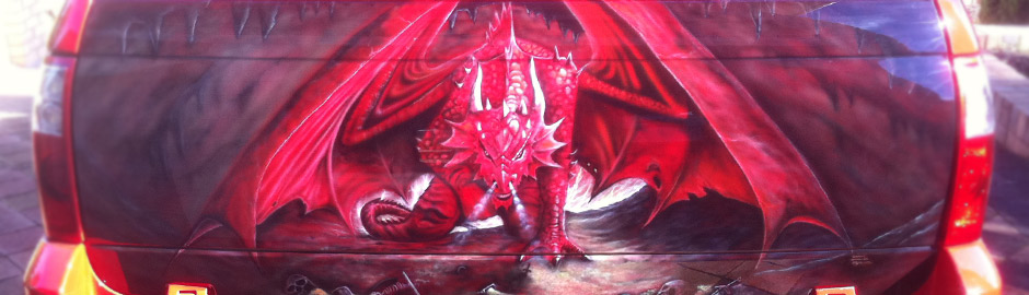 Rear Ute dragon airbrush artwork